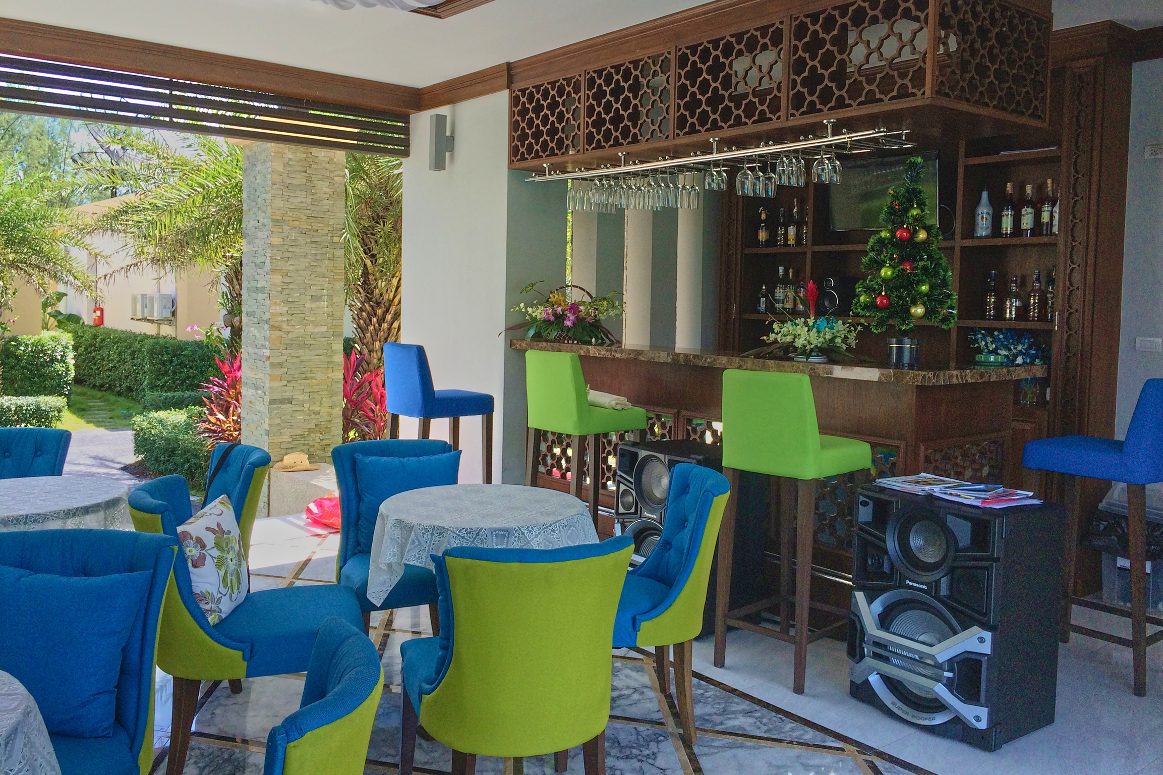 Our spacious bar just beside the main swimming pool of Ataman Luxury Villas, Thailand