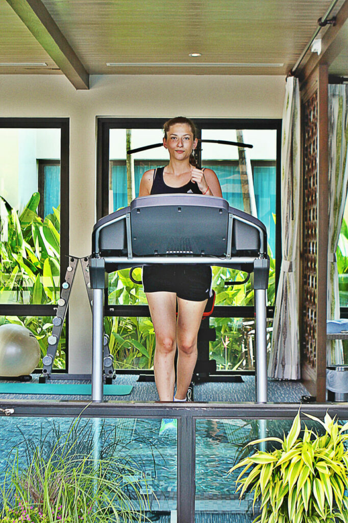 Treadmill and weight-lifting equipment at our private beachfront villas near Khao Lak
