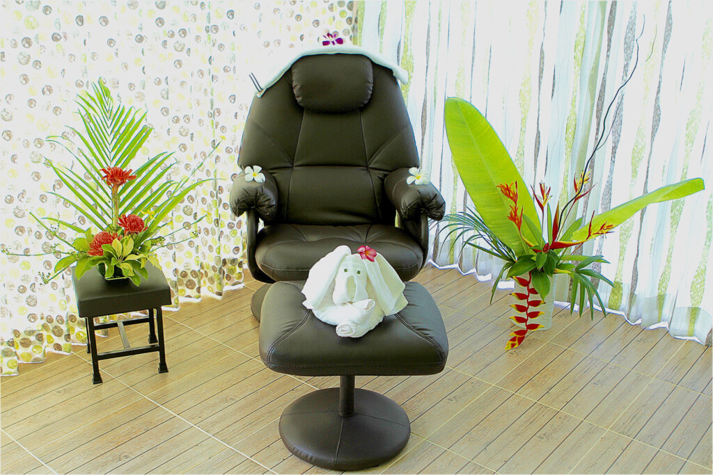 Comfortable armchairs for foot massage and nail polish at our private villa complex near Khao Lak
