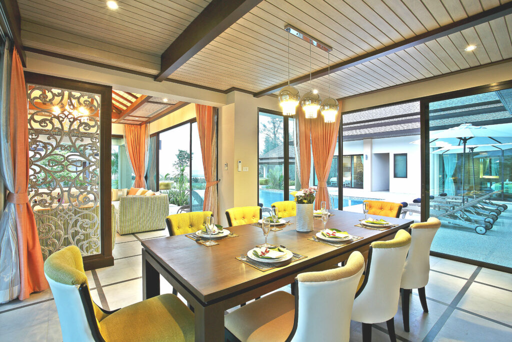 Dining area by the private pool at Ataman Luxury Villas